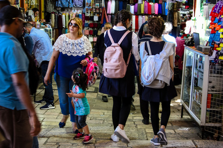 Jerusalem Israel April 24, 2018 View of unknown people walking at Damascus gate in the old city of Jerusalem on afternoon Reklamní fotografie - 100796176