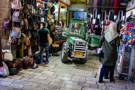 Jerusalem Israel April 24, 2018 Transportation in the street of the old city of Jerusalem on afternoon