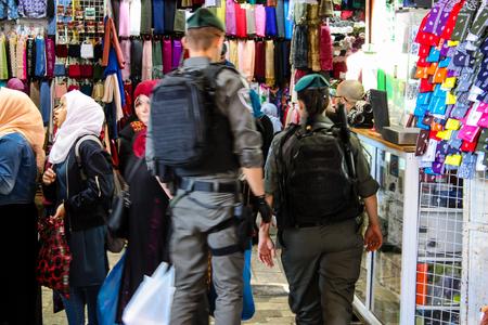 Jerusalem Israel April 24, 2018  View of the Israeli police standing at Damascus gate in the old city of Jerusalem on afternoon Redakční