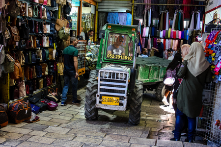 Jerusalem Israel April 24, 2018 Transportation in the street of the old city of Jerusalem on afternoon Reklamní fotografie - 100722948