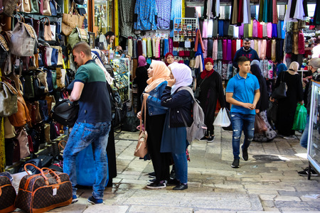 Jerusalem Israel April 24, 2018 View of unknown people walking at Damascus gate in the old city of Jerusalem on afternoon Reklamní fotografie - 100722956