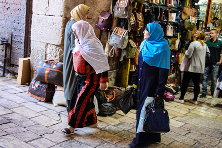 Jerusalem Israel April 24, 2018 View of unknown people walking at Damascus gate in the old city of Jerusalem on afternoon Reklamní fotografie - 100722939