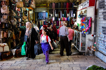 Jerusalem Israel April 24, 2018 View of unknown people walking at Damascus gate in the old city of Jerusalem on afternoon