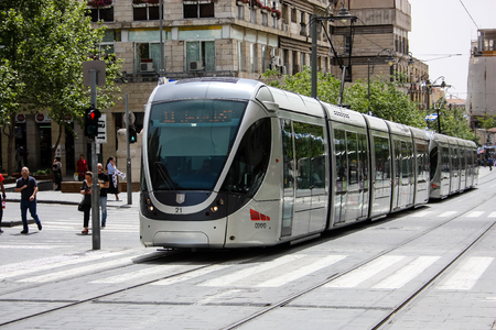 Jerusalem Israel May 02, 2018 View of the tram of Jerusalem in Jaffa street on afternoon