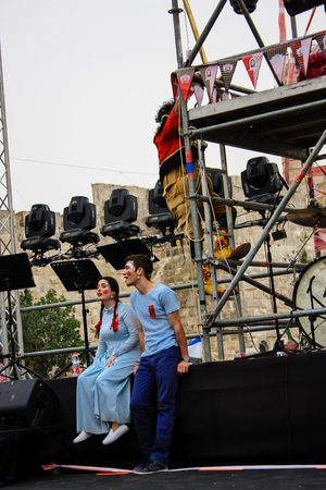 Jerusalem Israel May 10, 2018 The celebrations of the Middle Kingdom of the Golden Tooth Festival at the Old city of Jerusalem, The chairman s speech opening show in the evening Sajtókép