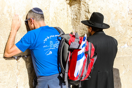Jerusalem Israel May 14, 2018 Unknowns people praying front the Western wall in the old city of Jerusalem in the evening 報道画像