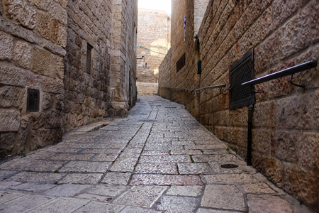 View of the street of the Old city of Jerusalem in the jewish quarter 写真素材