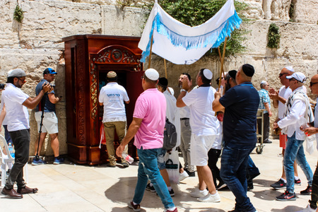 Jerusalem Israel May 21, 2018 View of a religious ceremony with unknowns people front the Western wall in the old city of Jerusalem
