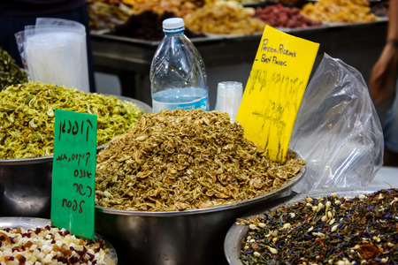 Jerusalem Israel May 24, 2018 Closeup of various dried fruits sold in the market of Jerusalem in Israel
