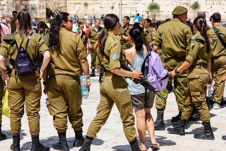 Jerusalem Israel May 21, 2018 View of Israeli soldiers walking on the Western wall plaza in the old city of Jerusalem