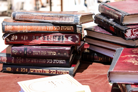 Jerusalem Israel May 21, 2018 View of a religious books front the Western wall in the old city of Jerusalem Editorial