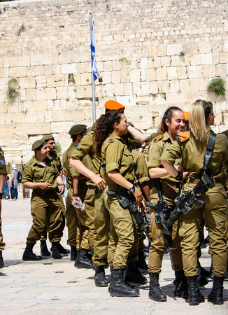 Jerusalem Israel May 21, 2018 View of Israeli soldiers standing on the Western wall plaza in the old city of Jerusalem in the evening