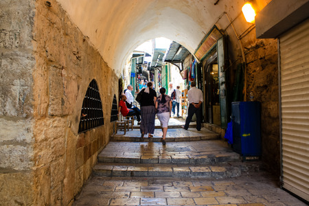 Jerusalem Israel May 28, 2018 View of unknowns people walking in David street in the muslim quarter at the Old city of Jerusalem in the morning Editorial