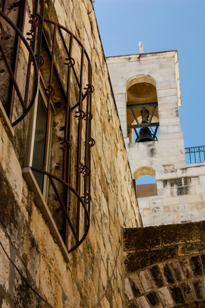 View of the street of the old city of Jerusalem in the Jewish quarter in the evening Stock Photo
