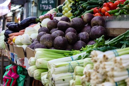 Jerusalem Israel May 24, 2018 Closeup of various vegetables sold in the market of Jerusalem in Israel