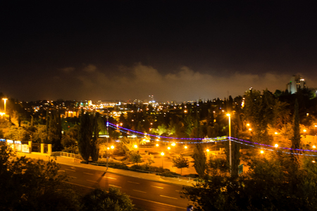 Jerusalem Israel May 31, 2018 Panoramic view of the city of Jerusalem in the night