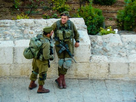 Jerusalem Israel May 31, 2018 View of soldiers standing around the Western Wall Square in the old city of Jerusalem in the evening