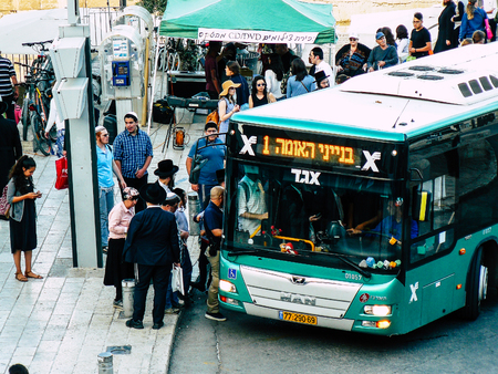 Jerusalem Israel May 31, 2018 View of unknowns people waiting at the bus station in the old city of Jerusalem in the evening