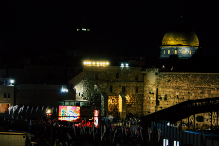 Jerusalem Israel June 07, 2018 View of soldiers attending an army ceremony on the Western Wall Square in the old city of Jerusalem in the evening Editorial
