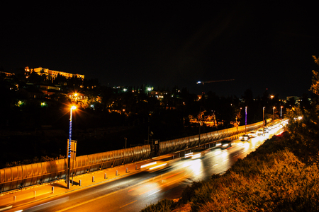 Jerusalem Israel June 22, 2018 Panoramic view of Jerusalem in the night from the outer wall of the old city Editorial