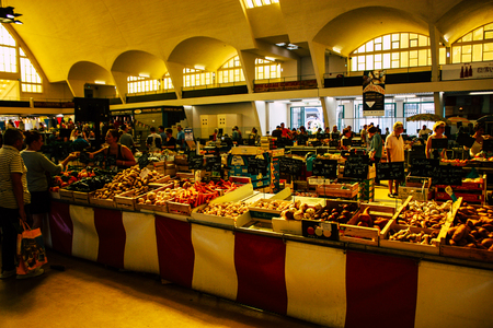 Reims France July 14, 2018 View of unknowns people shopping at the Reims market in the morning