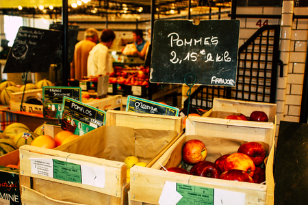Reims France July 14, 2018 View of vegetables and fruits sold at the Reims market in the morning