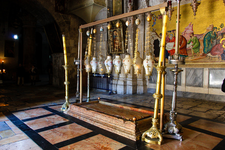 Jerusalem Israel January 01, 2018 View of the tomb of Christ at the Church of the Holy Sepulcher in the old city of Jerusalem in the morning