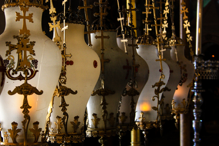 Jerusalem Israel January 01, 2018 View of the tomb of Christ at the Church of the Holy Sepulcher in the old city of Jerusalem in the morning Editorial