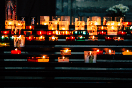 Reims France August 13, 2018 View of the candles inside Notre Dame Cathedral of Reims in the afternoon