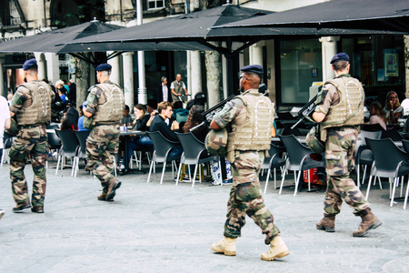 Reims France August 13, 2018 View of a French army patrol in the streets of Reims in the afternoon