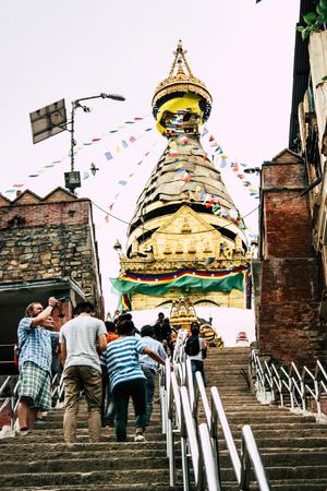 Kathmandu Nepal August 23, 2018 View of the Buddha stupa at Swayambhunath area in Kathmandu in the evening Editorial