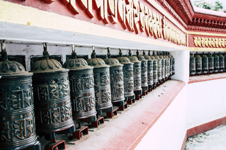 Kathmandu Nepal August 23, 2018 View of Tibetan prayer wheels at the Monkey temple in Swayambhunath area in Kathmandu in the evening Editorial