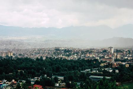 Kathmandu Nepal August 23, 2018 Cityscape from the top of the Monkey temple in Swayambhunath area in Kathmandu