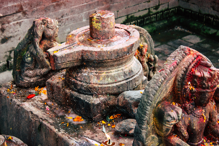 Kathmandu Nepal August 27, 2018 Closeup of a place of worship inside the Pashupatinath temple in the morning
