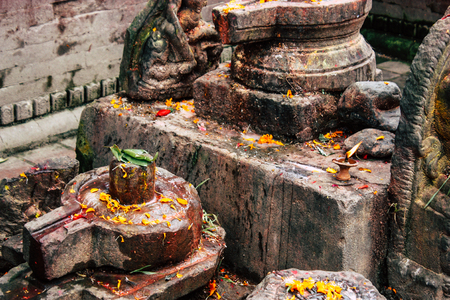 Kathmandu Nepal August 27, 2018 Closeup of a place of worship inside the Pashupatinath temple in the morning Stock Photo - 107772087