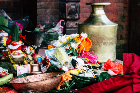 Kathmandu Nepal August 27, 2018 Closeup of various objects for a religious ceremony inside the Pashupatinath temple in the morning