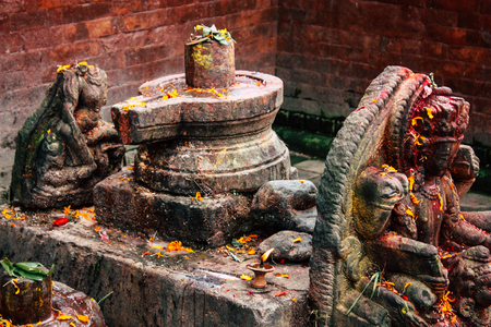 Kathmandu Nepal August 27, 2018 Closeup of a place of worship inside the Pashupatinath temple in the morning Stock Photo - 107772039