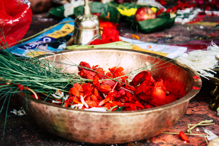 Kathmandu Nepal August 27, 2018 Closeup of various objects for a religious ceremony inside the Pashupatinath temple in the morning Stock Photo - 107772018