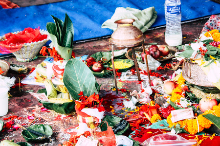 Kathmandu Nepal August 27, 2018 Closeup of various objects for a religious ceremony inside the Pashupatinath temple in the morning Stock Photo - 107771967