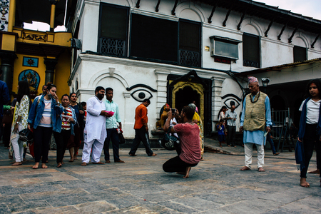 Kathmandu Nepal August 27, 2018 View of unknowns Hindu people visiting the Pashupatinath temple in the morning