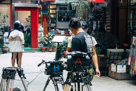 Kathmandu Nepal September 7, 2018 View of the film crew of a Chinese action film of which certain shots are made in the neighborhood of Thamel in Kathmandu in the morning Редакционное