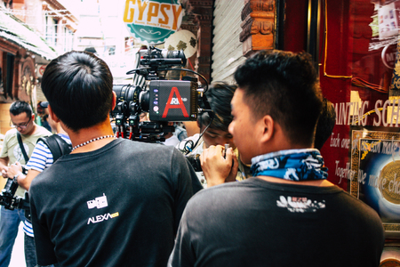 Kathmandu Nepal September 7, 2018 View of the film crew of a Chinese action film of which certain shots are made in the neighborhood of Thamel in Kathmandu in the morning Editorial