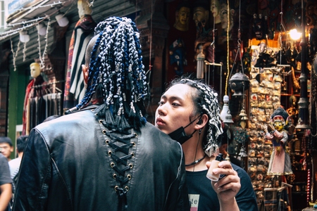 Kathmandu Nepal September 7, 2018 View of the actors makeup team of a Chinese action film of which certain shots are made in the neighborhood of Thamel in Kathmandu in the morning