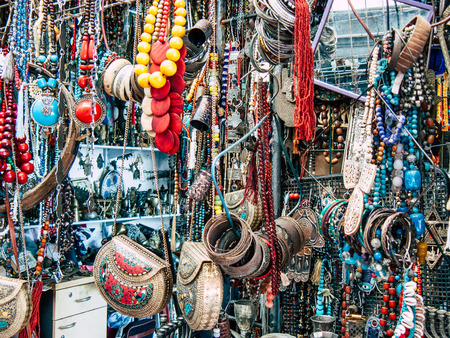Tel Aviv Israel September 28, 2018 View of decorative objects sold at Jaffas Flea Market located in Olei Zion Street in Tel Aviv in the afternoon
