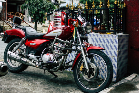Pokhara Nepal october 12, 2018 View of a motorcycle parked in the main street of Pokhara in the morning
