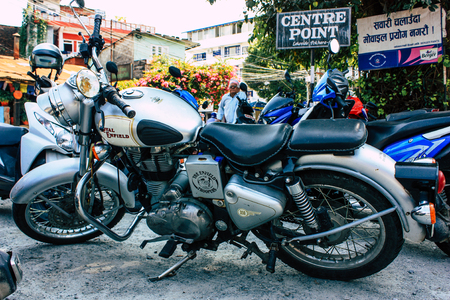 Pokhara Nepal October 12, 2018 View of a Royal Enfield motorcycle parked in the main street of Pokhara in the morning