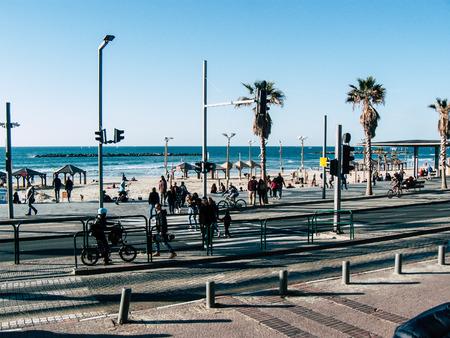 Tel Aviv Israel January 17, 2019 View of unknowns Israeli people walking in the streets of Tel Aviv in the afternoon