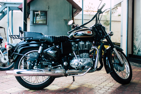 Fort Cochin Kerala India December 30, 2018 View of a Royal Enfield motorcycle parked in the streets of Fort Cochin in the morning Editoriali