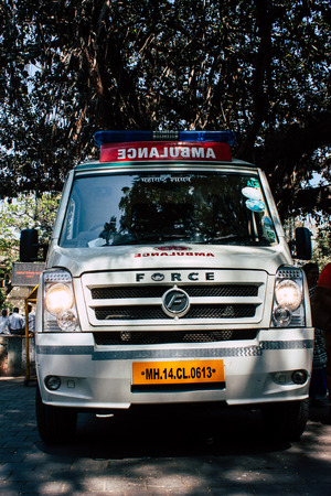Mumbai India March 1, 2019 Closeup of a Indian ambulance parked front the gateway of India in Mumbai in the afternoon