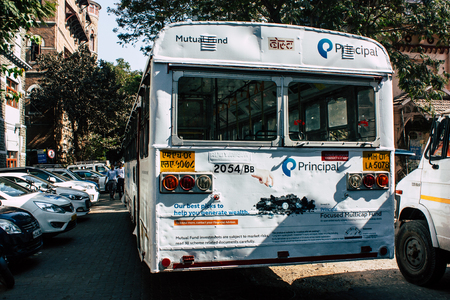 Mumbai India March 1, 2019 View of a traditional local bus rolling in the streets of Mumbai in the afternoon Editorial